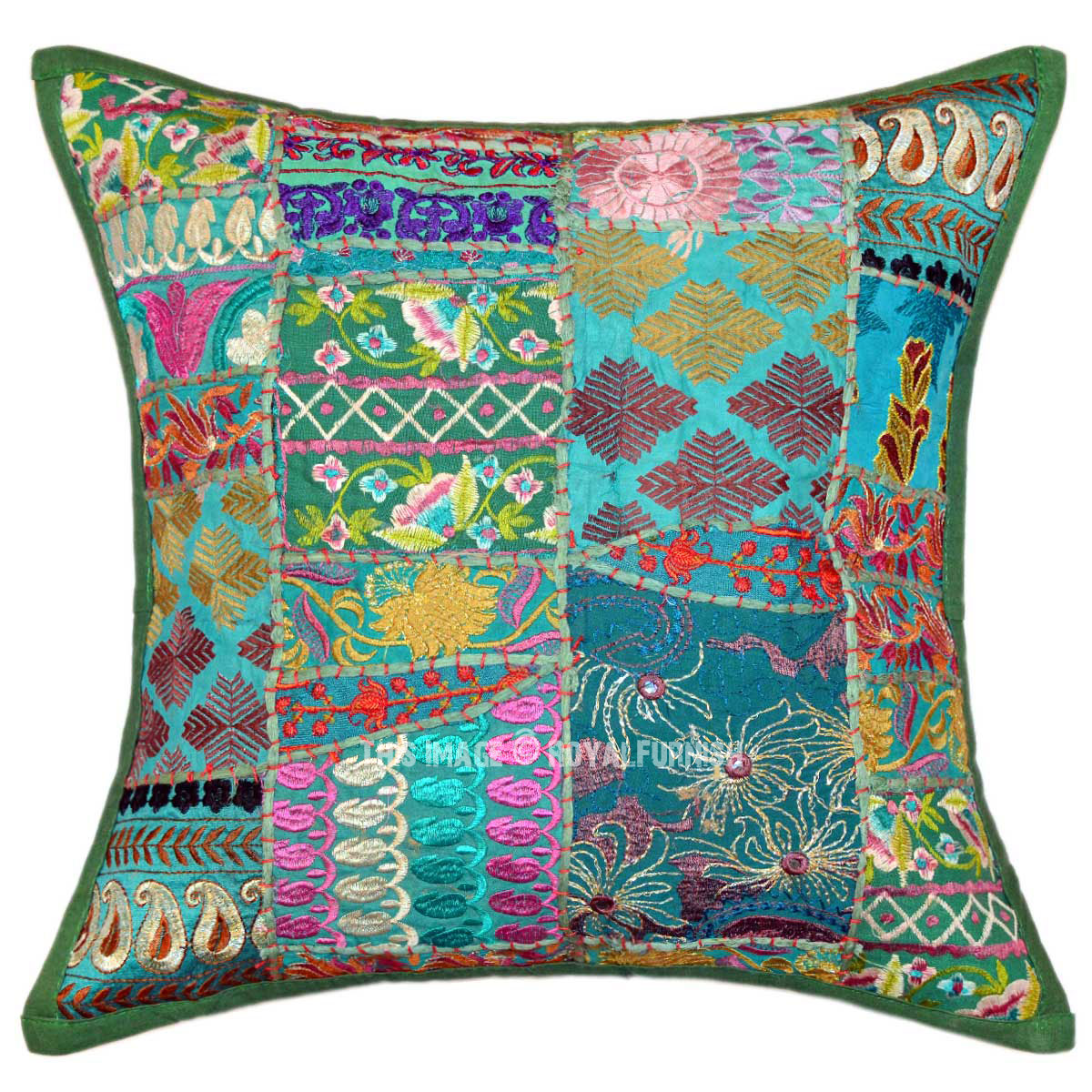 Green 18X18 Unique Patchwork Decorative Throw Pillow Case