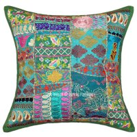 Green 18X18 Unique Patchwork Decorative Throw Pillow Case ...