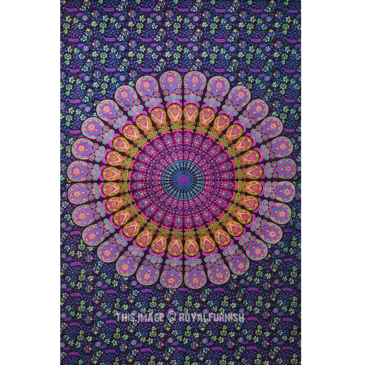 Purple  Pink Multi Small Medallion Mandala Tapestry Indian Bedding Throw  RoyalFurnishcom