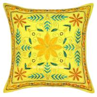 Yellow Hand Embroidered Boho Style Throw Pillow Cover ...