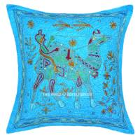Turquoise Camel Riding Hand Embroidered Accent Throw ...
