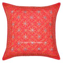 Decorative Sofa Pillows Dog Sofas And Chairs Uk Red 16x16 One Of A Kind Unique Embroidered