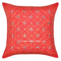 Red 16X16 Decorative One-Of-A-Kind Unique Embroidered ...
