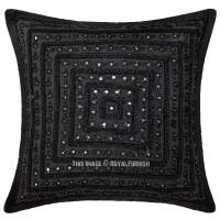 Black Decorative Unique Mirrored Embroidered Throw Pillow ...