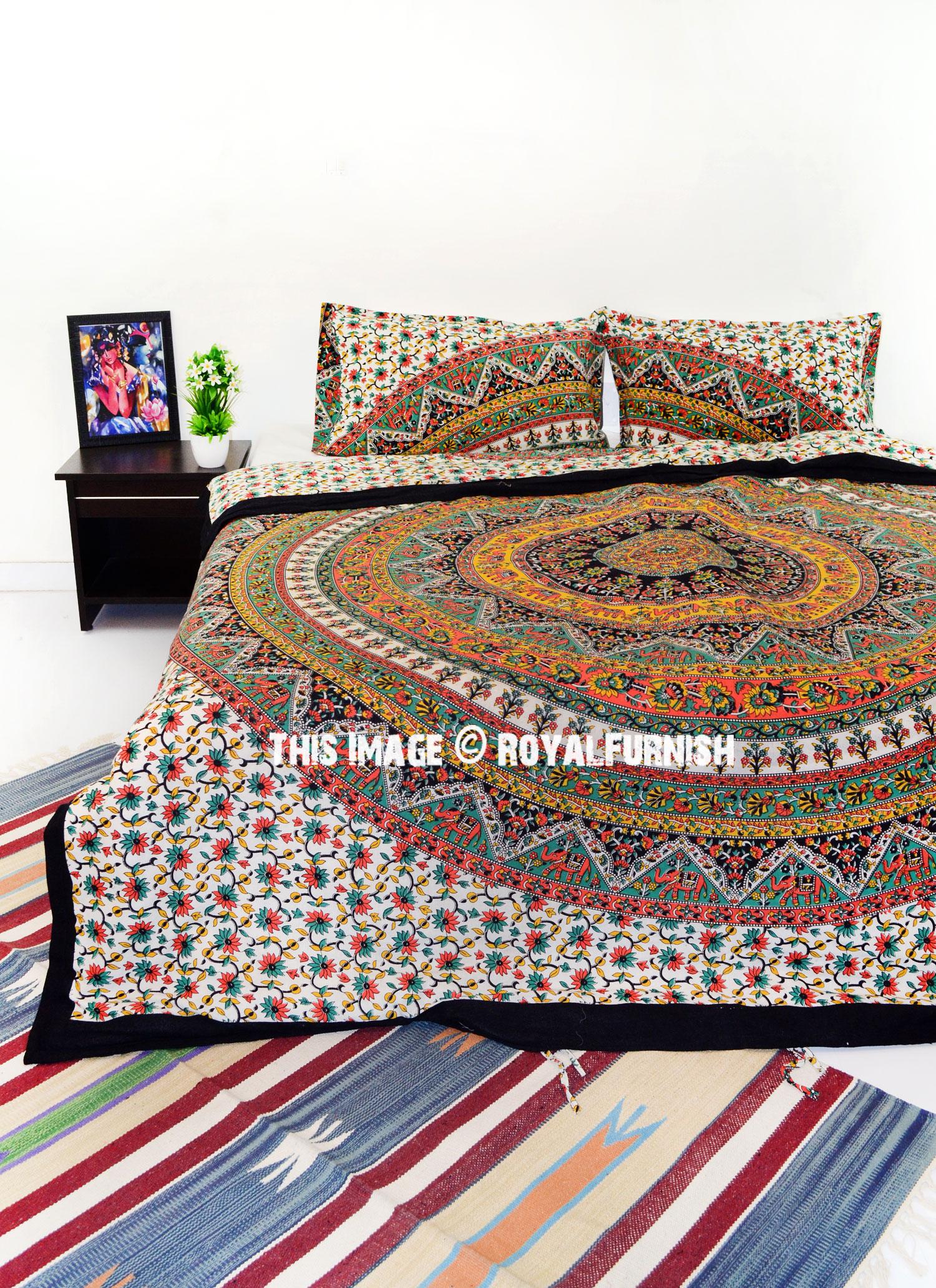 Multi Kerala Bohemian Hippie Bedding Duvet Covers Set with 2 Pillow Covers  RoyalFurnishcom