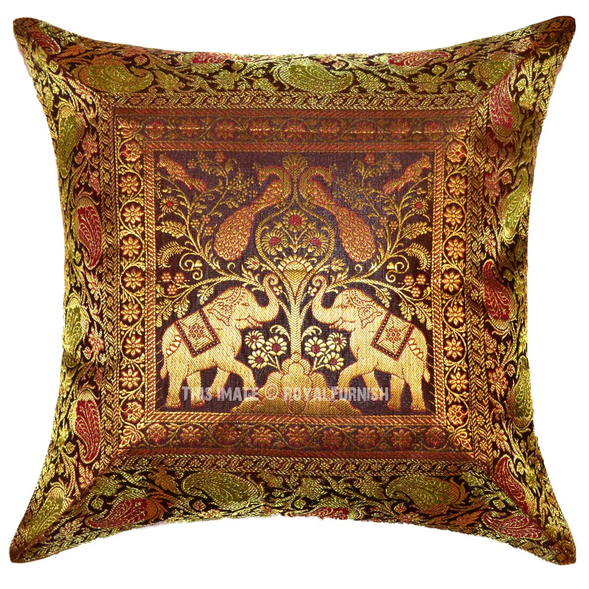 72 inch sofa bed sofas for dogs online brown two elephants and peacocks featuring boho accent ...