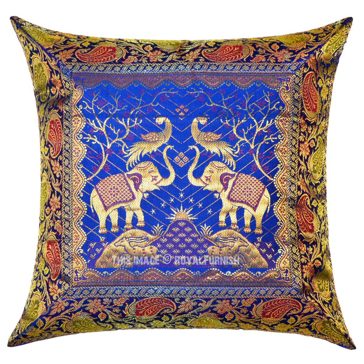 72 inch sofa bed surefit t cushion covers blue two elephants and birds featuring decorative silk ...