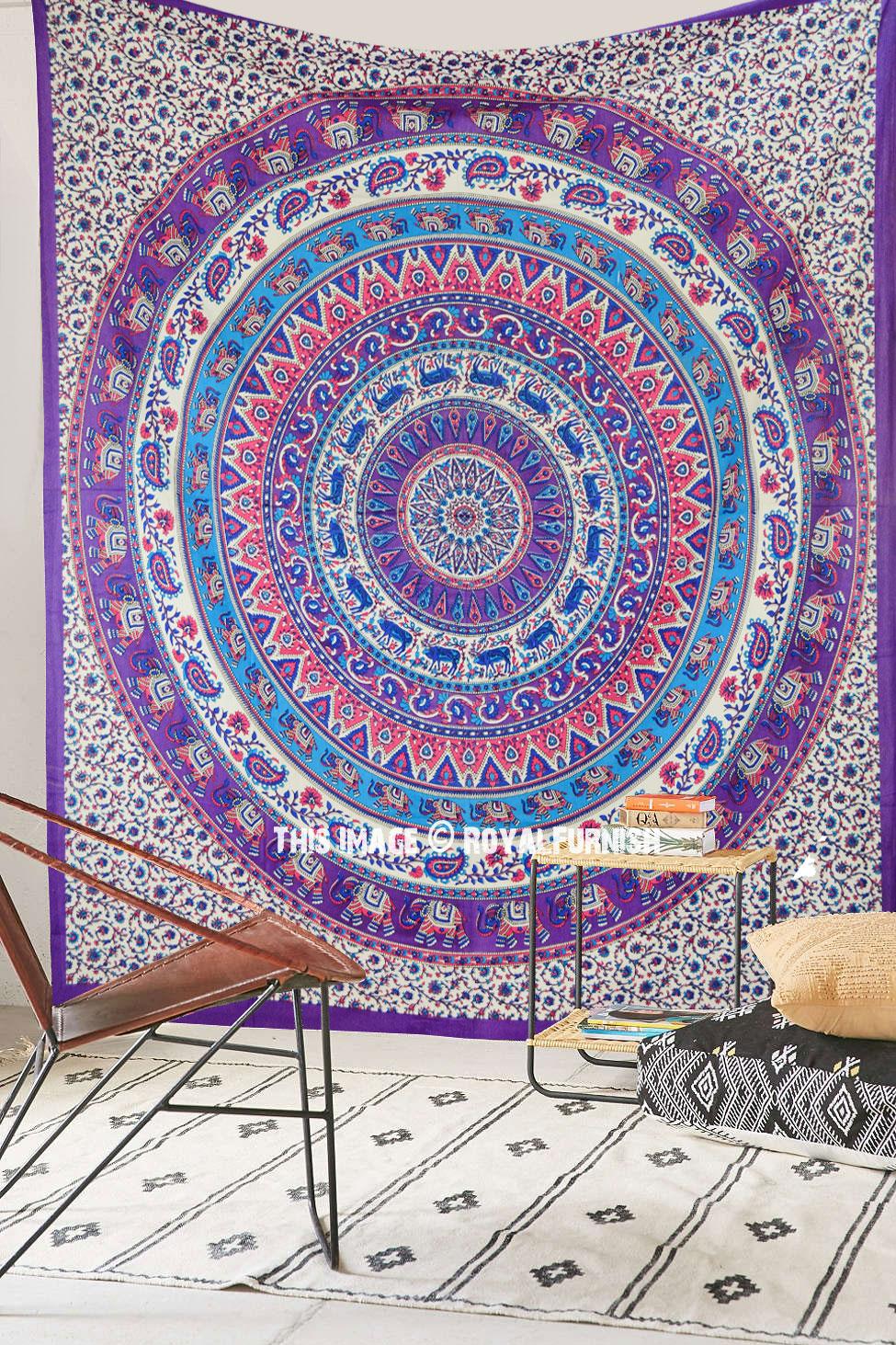 Pink Purple Elephants Deer Medallion Mandala Tapestry