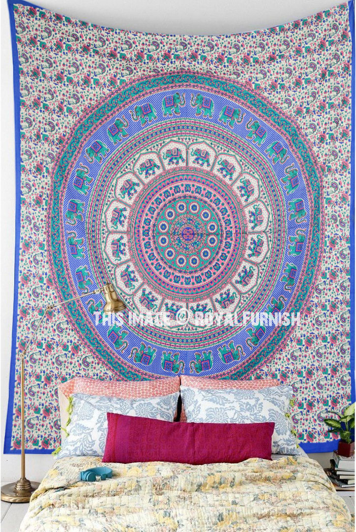 Blue Pink Asian Elephants Rings Medallion Mandala Tapestry  RoyalFurnishcom
