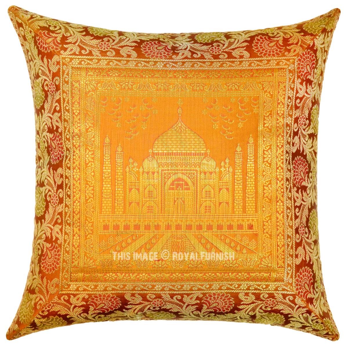 gold sofa throw pillows crate and barrel great giveaway color decorative boho accent tajmahal silk