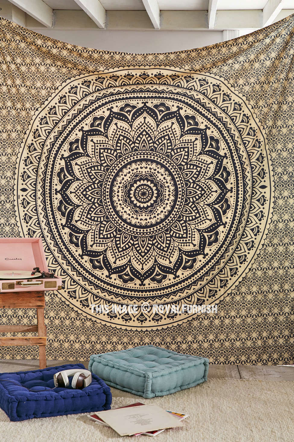 Black  Gold Sparkly Trippy Ombre Medallion Mandala Wall Tapestry  RoyalFurnishcom