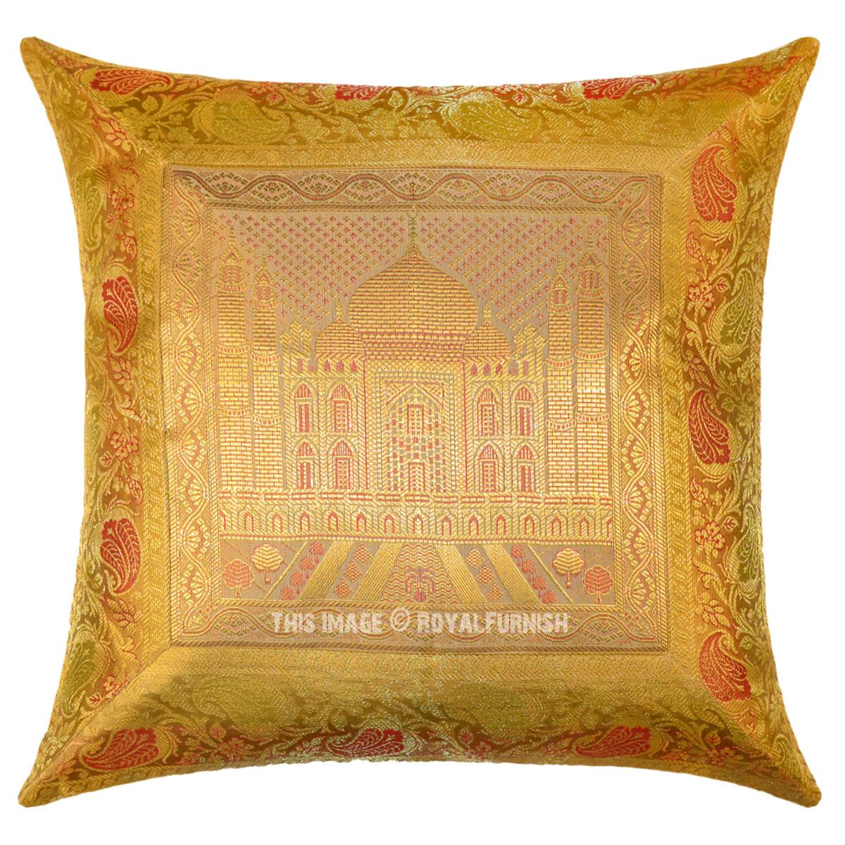 gold sofa throw pillows cheap 2 seater beds uk yellow tajmahal decorative silk pillow case