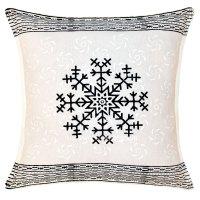 White & Black Star Hand Block Printed Decorative Pillow ...