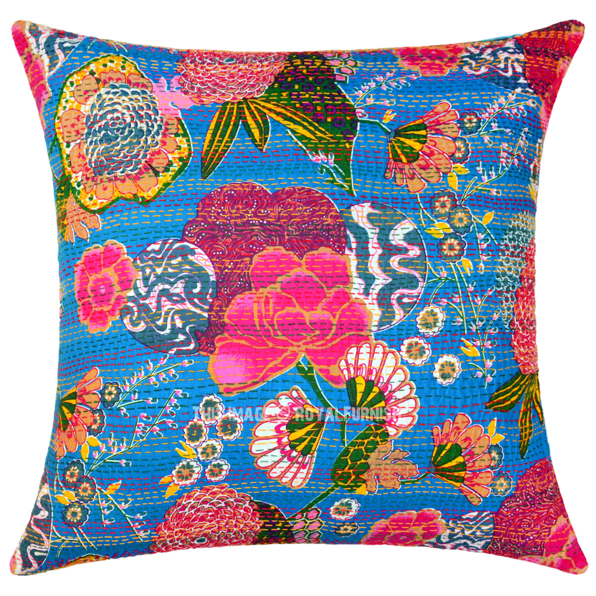 Large Blue Decorative  Accent Kantha Throw Pillow Cover