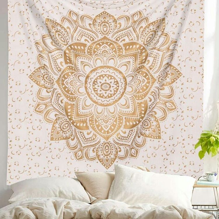 Gold Geometric Flower Ombre Mandala Wall Tapestry  RoyalFurnishcom