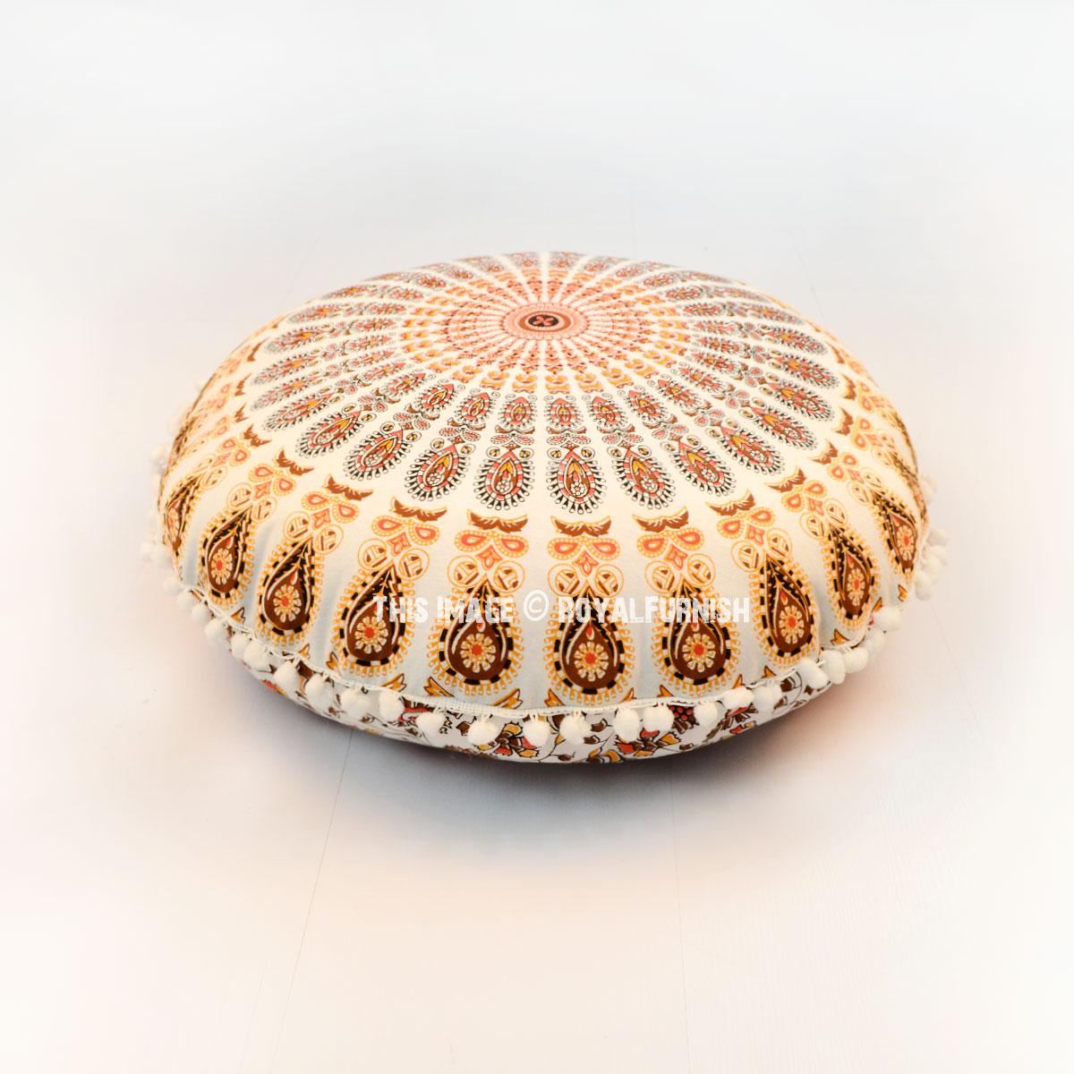 24 Inch White Orange Peacock Mandala Round Floor Pillow