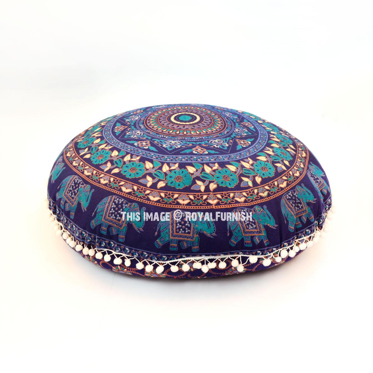 round chair cushions 14 inch heated vibrating blue chakra medallion floor pillow cover 32