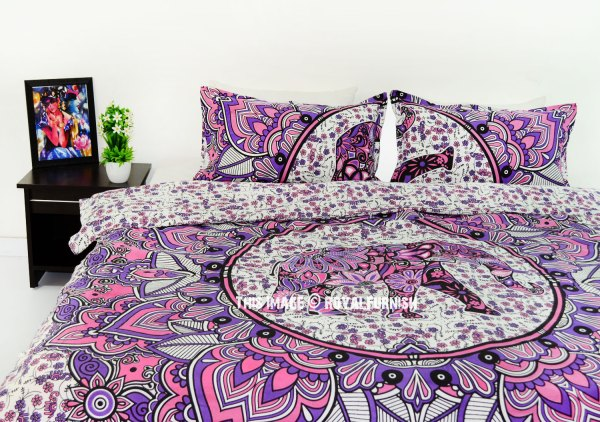 Pink Multi Asian Elephant Duvet Covers Set With 2 Pillow