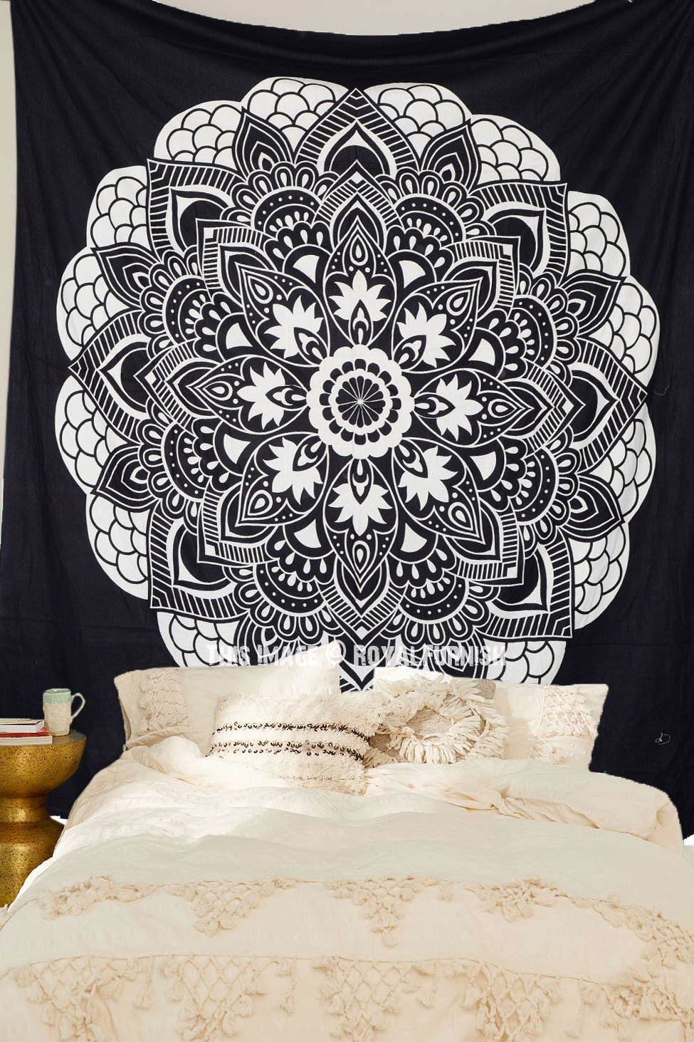 Black  White Oregano Mandala Bohemian Tapestry Room