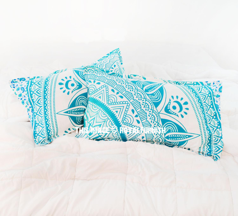 decorative white green long leafs bohemian mandala bed pillow cases set of two royalfurnish com
