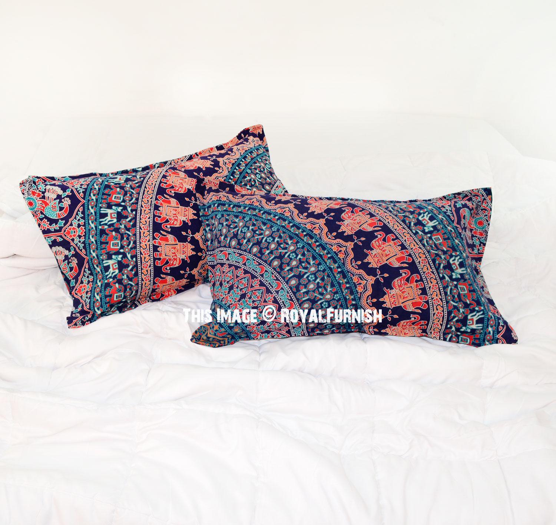 Decorative Blue Elephant  Birds Bohemian Mandala Bed