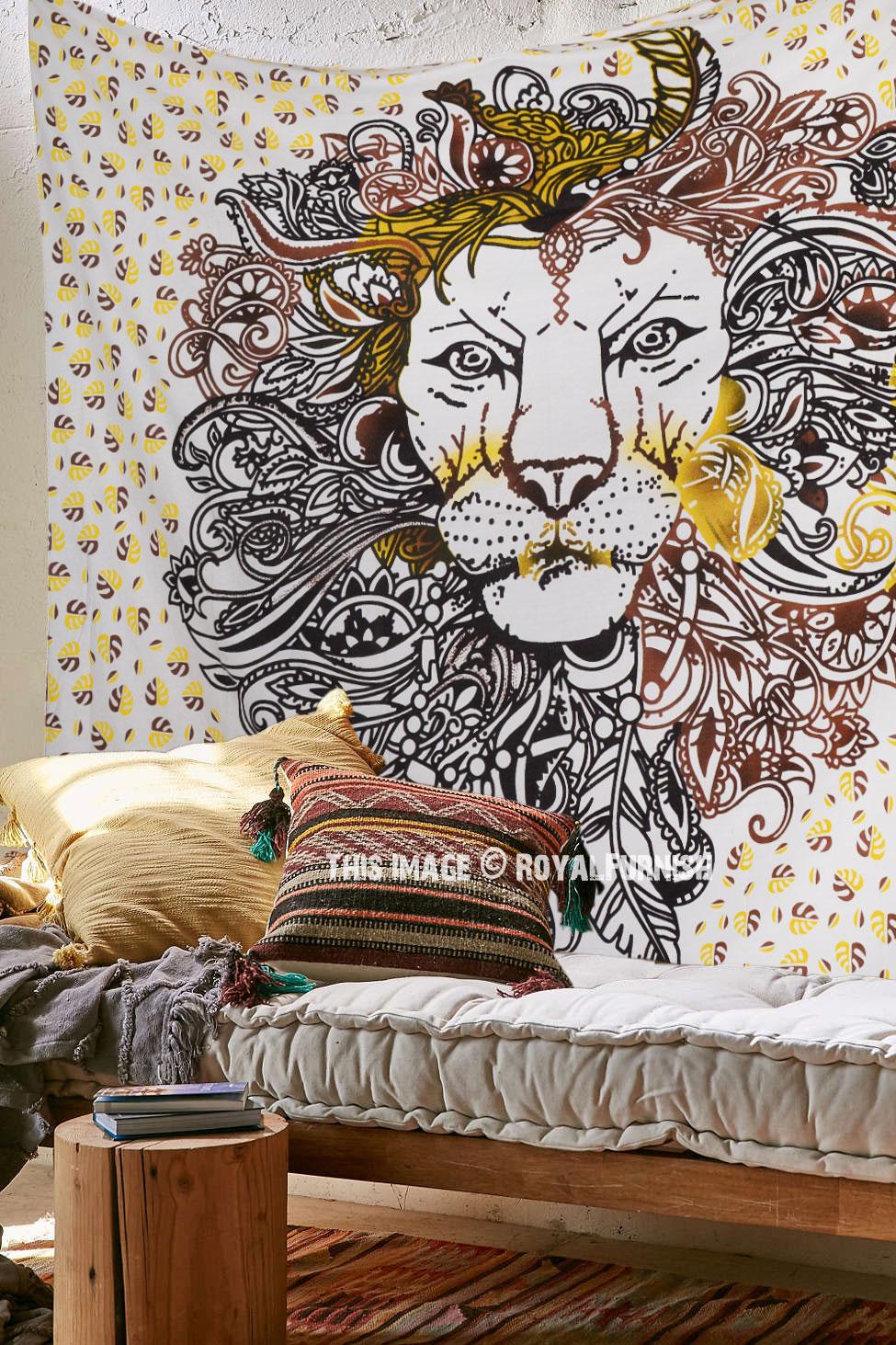 Traditional Rasta Indian Lion Wall Hanging Cotton Bedding