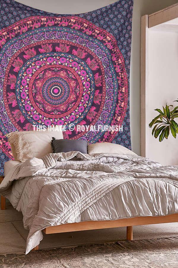 Pink Purple Indian Elephant  Camel Medallion Design Dorm