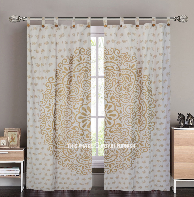 Sparkly Gold Dahlia Mandala Tapestry Curtain Panel Pair