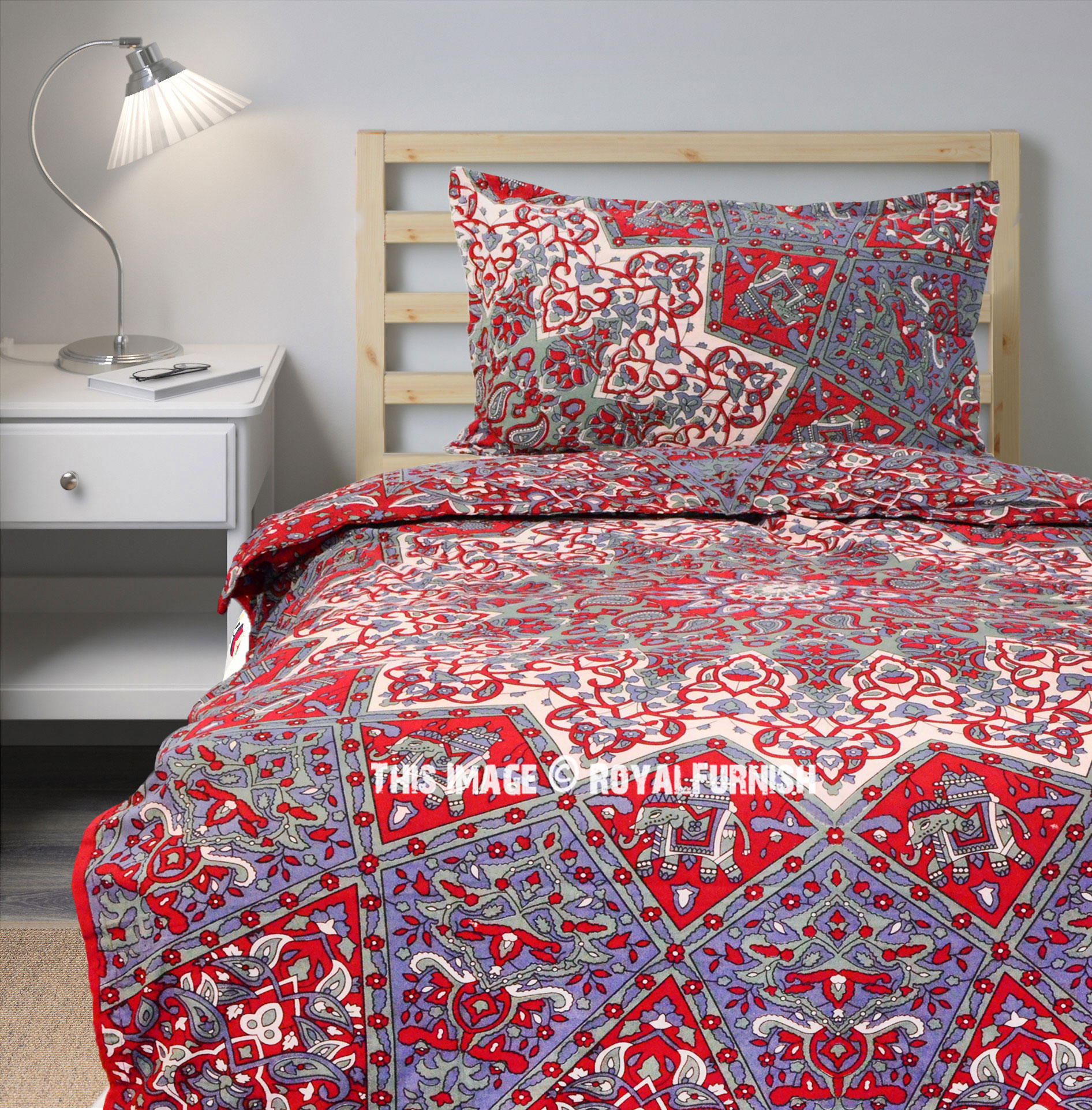 Maroon Bohemian 3d Star Duvet Cover With One Pillow Sham