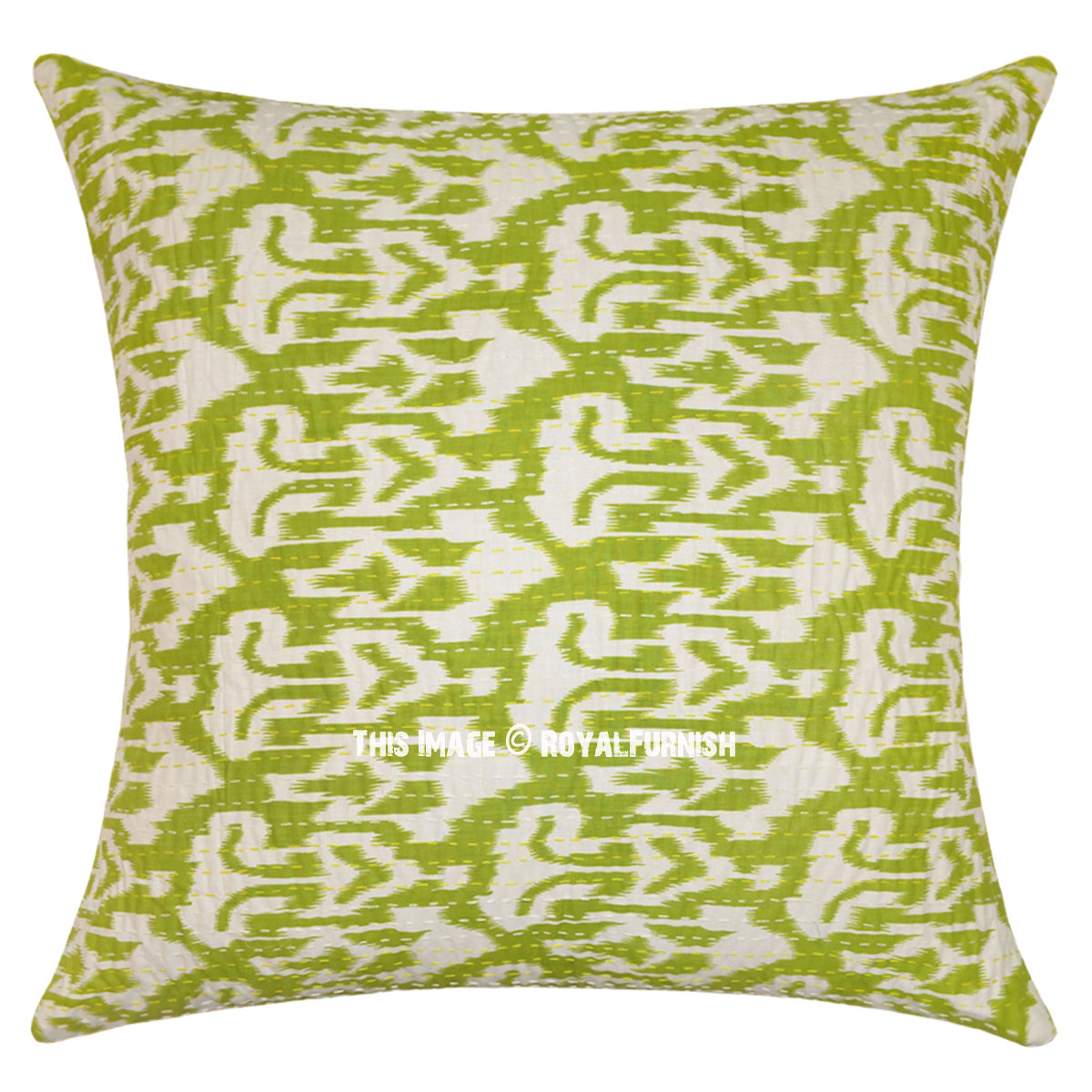 Green Accent Kantha Ikat Kantha Oversized Throw Pillow Cover Royalfurnish Com