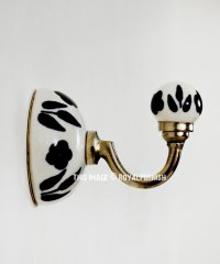 Black & White Decorative Hand Painted Ceramic Wall Hook ...