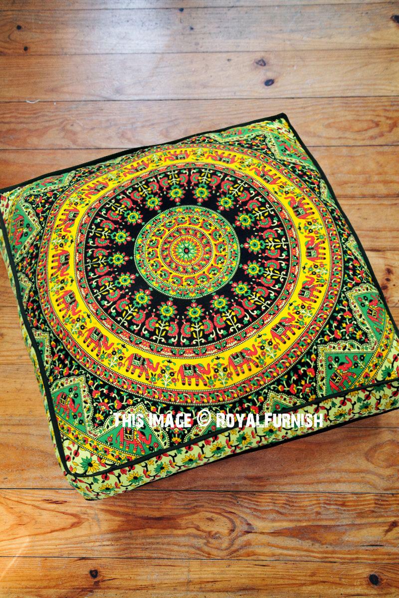 Beige Multi Bohemian Kerala Mandala Square Floor Pillow Cover 36x36 Inch Royalfurnish Com