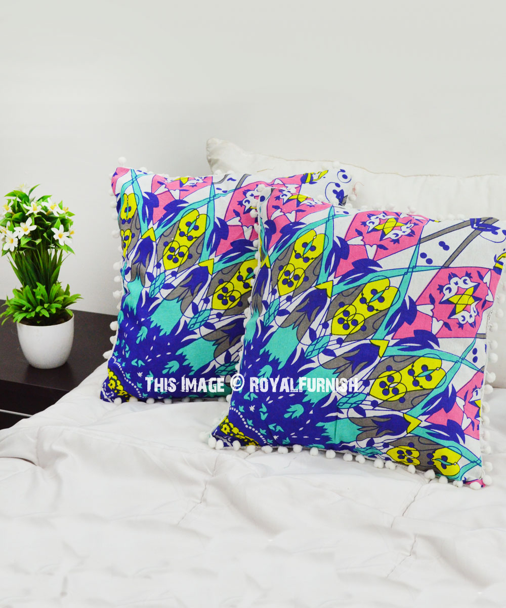 Blue Multi Psychedelic Boho Pattern Pom Pom Throw Pillow Cover Set Of 2 Royalfurnish Com