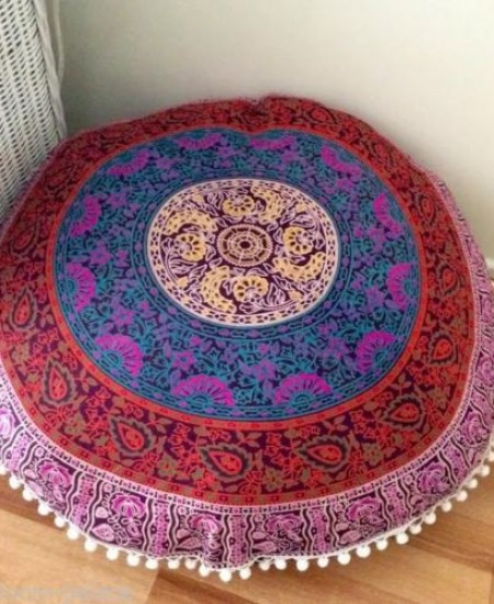 plum bow medallion round floor pillow cover 32 inch
