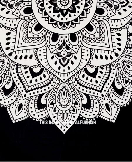 black white lotus mandala