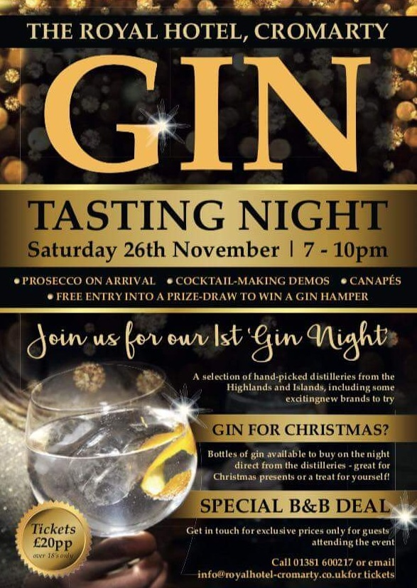 Gin Tasting Night  Royal Hotel Cromarty