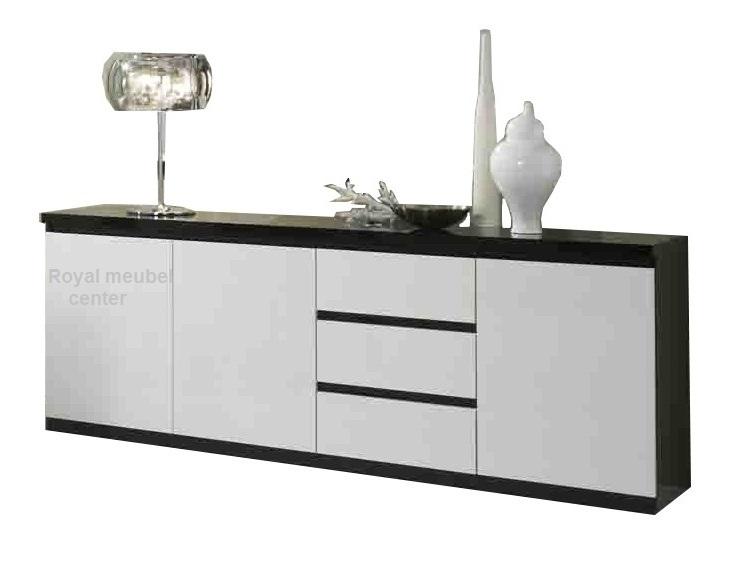 Dressoir Forever hoogglans zwart wit 220 cm  Dressoir