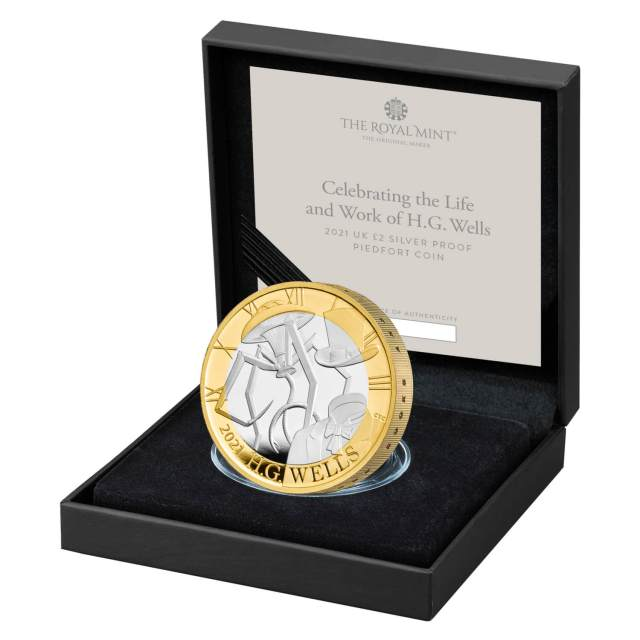 Celebrating the Life and Work of H.G. Wells 2021 UK £2 Silver Proof Piedfort Coin