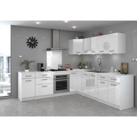start meuble de cuisine haut d angle l 58 cm blanc brillant