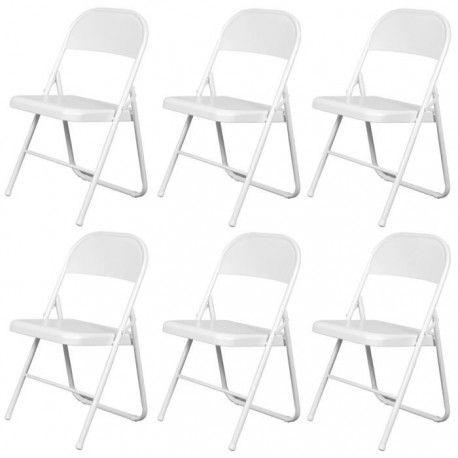 america lot de 6 chaises pliantes blanches