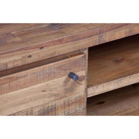 meuble tv industriel en metal et mdf plaque pin et acacia l 130 cm