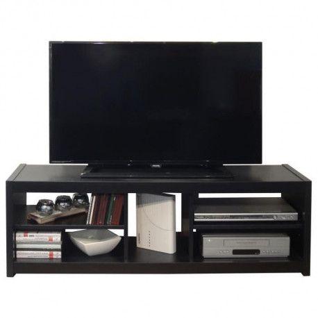 teo meuble tv contemporain noir l 125 cm