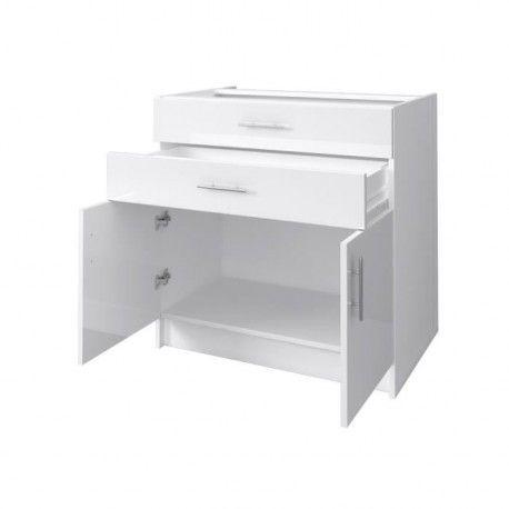 city meuble bas de cuisine 80 cm laque blanc brillant