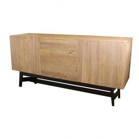 studio bahut 180 cm en bois massif vernis et noir