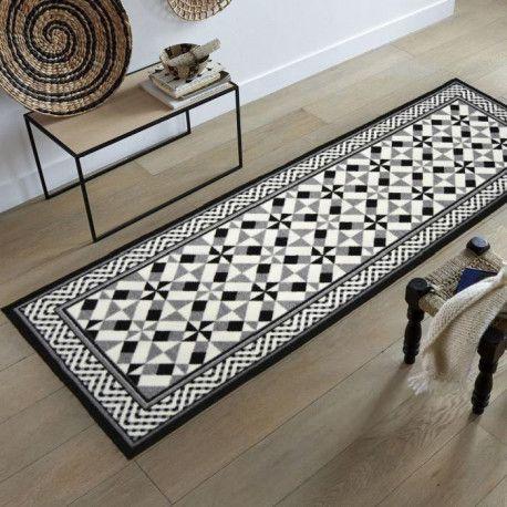 utopia tapis de salon carreaux de ciment 160x230 cm noir gris et blanc