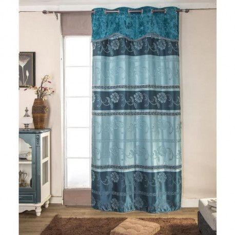 paire de double rideaux 140x260 cm bleu avec motif
