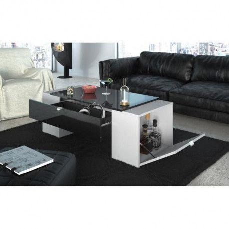 lucky table basse style contemporain noir brillant et blanc mat l 123 x l 42 cm