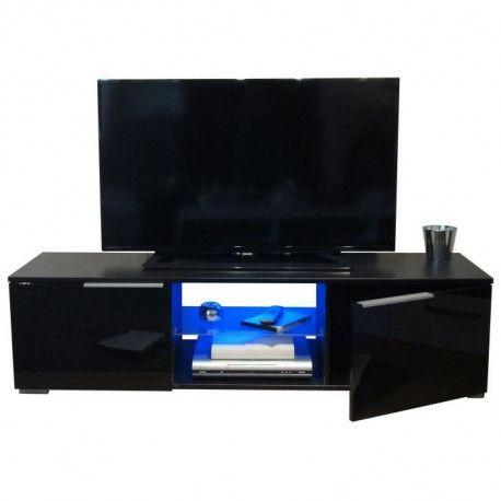 studio meuble tv avec led contemporain noir brillant l 140 cm