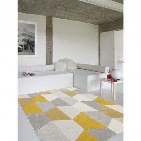 tapis de salon madrid style scandinave 160x230 cm gris et jaune