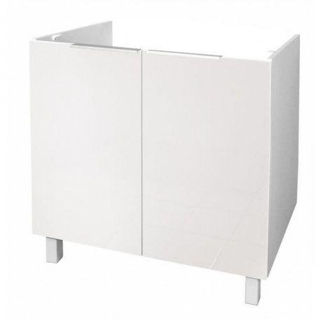 pop meuble sous evier l 80 cm blanc brillant